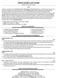 Industrial Project Manager Resume Sample Template