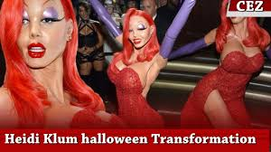 Heidi Klum Halloween 2011 by Heidi Klum Halloween Transformation Into Jessica Rabbit Youtube