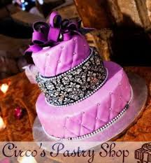 Damask Purple And Black Wedding Cake Design Fondant Delivered To NYC