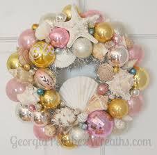 Seashell Christmas Tree Skirt by Seashells U0026 Shiny Brites Christmas Wreath Beachy Beach Coastal Sea