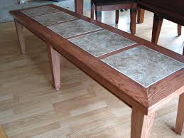 crafted inlay tile dining table bench by stockwell creek