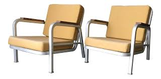 1930s Art Deco Streamline Emeco Aluminum Lounge Chairs - A Pair
