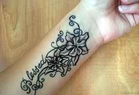Blessed Flower Tattoo On Wrist