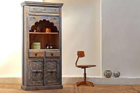 schrank indien blau antik bücherschrank landhaus alt vintage teakholz shabby loft