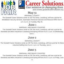 Job Fairs May 31 June 3 lewisburgtn