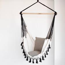 Brazilian Padded Hammock Chair by Hammock Chair Soho Black With Tassels Ivory U0026 Deene Hammock