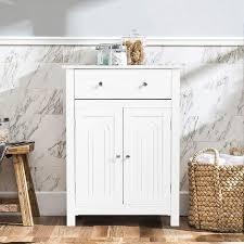 costway badezimmerschrank weiss sideboard mit schublade badschrank kommode freistehend badezimmer schrank verstellbaren regalbrett