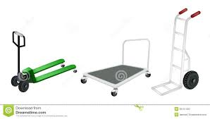 Hand Truck, Dolly And Pallet Truck On White Backgr Stock Vector ...