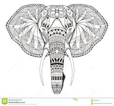 Elephant Head Zentangle Stylized Vector Illustration Freehand