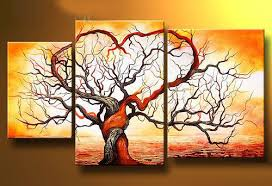 3 Panel Hand Painted Yellow Ocean Tree Home Modern Abstract Paintings On Canvas Famous Fine