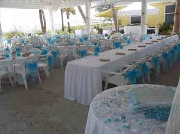 Blue Pavilion In With Head Table S Florida Destination Packages Keys Beach Wedding Reception