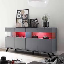 184x95x50 vitrinen sideboard in grau rot birelda