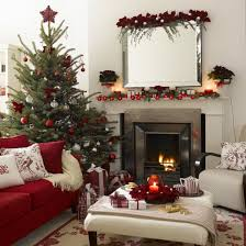 Traditional Apartment Interior Design Warm Living Room With Simple Beautiful Christmas Decorating Ideas By Mirror Decor Above Modern