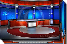 News TV Studio Set Virtual Green Screen Background PSD Image Footage