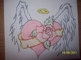 Image Gallery Winged Heart With Rose Tattoo Sketch