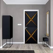 Retro Modern Geometric Door Wallpaper Design Creates A