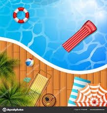 Summer Background Swimming Pool Umbrella Mattress Stock Vector
