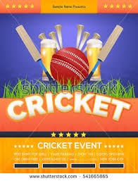 Vector Cricket Poster Event Info Postcard Design And Sports Ad Web Banner Or Horizontal Card Template