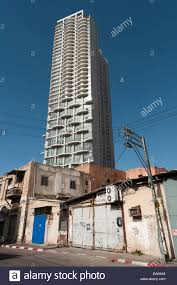 New High Rise Apartment Building Seen From A Rundown Part Of Town Tel Aviv Israel