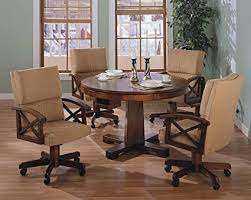 Three In One Solid Oak Wood Pool Poker Game Dining Table Chairs Set