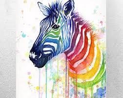 Rainbow Zebra Print Bedroom Decor by Zebra Watercolor Rainbow Painting Giclée Print Zebra Art