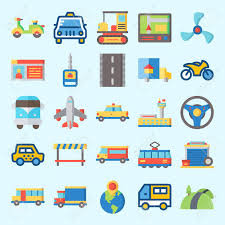 Icons Set About Transportation With Bus, Driving License, Tram ...