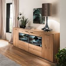 mca furniture portland sideboard por17t01 für ihr wohnzimmer oder esszimmer kommode mit zwei türen und zwei glastüren anrichte in asteiche bianco