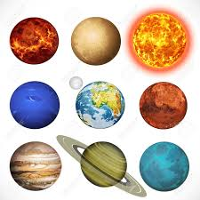 Illustration Planets Solar System And Sun Isolated White