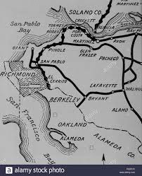 Black And White Highway Map Showing The Early 20th Century State County Road Systems In Contra Costa California 1920 Courtesy Internet Archive