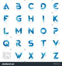 Vector English Alphabet Letters Set Blue Stock Vector Royalty Free