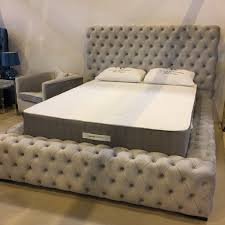 Roma Tufted Wingback Headboard Oyster Fullqueen by Ella Ottoman Storage Bed Upholstered In Chenille Or Crushed Velvet
