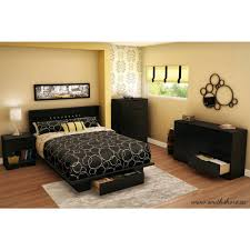 south shore libra twin size platform bed in pure black 3070235