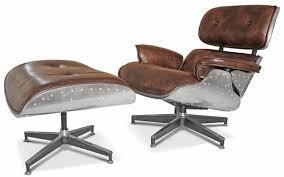 casa padrino echtleder sessel mit fußhocker braun silber wohnzimmer sessel mit hocker wohnzimmer möbel echtleder möbel