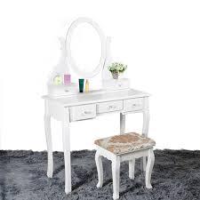 coiffeuse bureau en bois coiffeuse maquillage bureau avec tabouret ovale miroir 5