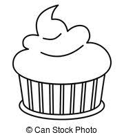 Cupcake icon in outline style vector illustration for design and web isolated