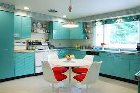 Retro Dining Furniture And Blue Kitchen Cabinets