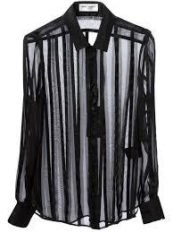 saint laurent sheer striped blouse in black lyst