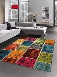 carpetia designer teppich patchwork vintage wohnzimmerteppich multicolor bunt größe 80x150 cm