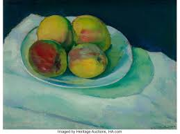 CHARLES SHEELER American 1883 1965 Peaches In A White Bowl