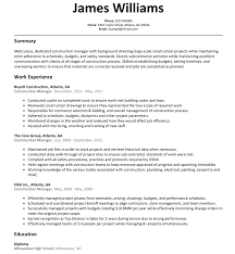 Construction Manager Resume Example