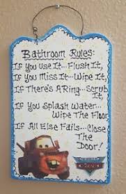 Cars Bathroom by Disney Cars Bathroom Rules Wall Hanging Mater Sign Ebay