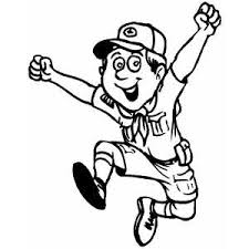 Happy Jumping Boy Scout Coloring Page