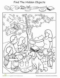 Preschool Coloring Worksheets Find The Hidden Objects