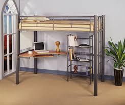 Bedroom Design Siver Metal Contemporary Twin Loft Bed With Desk