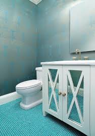 Blue Mosaic Bathroom Mirror by Silver And Turquoise Damask Wallpaper With Ocean Blue Tile Floor