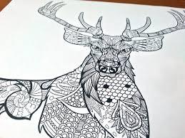 Adult Zentangle Coloring Sheet Deer
