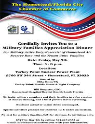 Military appreciation dinner May 9 Homestead Air Reserve Base
