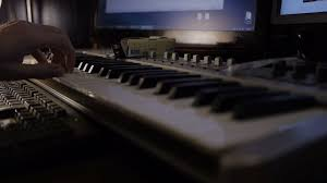 Close Up Hands Playing The Keyboard In Music Studio Concept Stock Video Footage