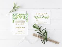 Leaf Wedding Invitation Watercolor Rustic Bohemian Invite Printed