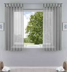 2er pack gardinen transparent vorhang set wohnzimmer voile schlaufenschal mit bleibandabschluß hxb 175x140 cm grau 61000cn